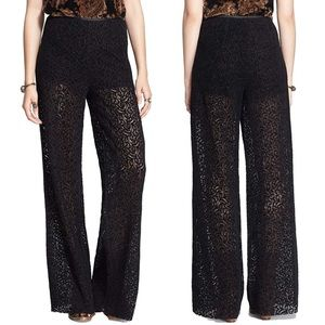 Free People Textured Lace Inset Palazzo Pants